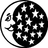 Moon and Stars, Vinyl cut decal
