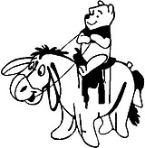 Winnie the pooh riding Eeyore like a horse with a saddle, Vinyl cut decal