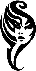 Tribal Face, Vinyl cut decal