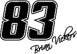 83 Brian Vickers, Vinyl decal sticker