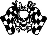 Skull with checker flags, Vinyl decal sticker