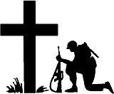 Soldier Praying at Cross, Vinyl cut decal