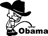 Cowboy Calvin peeing on OBAMA, Vinyl cut decal