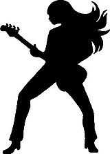 Woman Playing a guitar, Vinyl cut decal