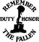 Remember The Fallen, Duty, Honor, Vinyl cut decal