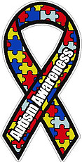 Austism Awareness Ribin, full color Vinyl decal sticker