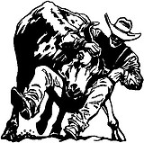 Cowboy Taking down a bull, Vinyl Cut Decal