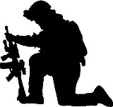 Soldier Kneeling, Vinyl Cut Decal