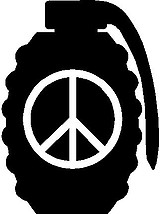 Grenade Peace sign, Vinyl decal sticker