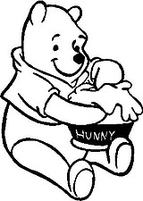 Winnie the Pooh eating hunny, Vinyl decal sticker