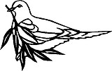 Bird hold a twig, Vinyl decal sticker