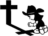 Calvin cowgirl praying at the cross, Vinyl decal sticker