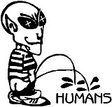 Alien peeing on Humans, vinyl decal sticker