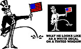 Uncle Sam holding an American Flag peeing, Vinyl cut decal
