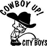 Cowboy Up! Cowboy calvin peeing on City Boys, Vinyl cut decal