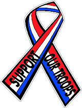 Support our troops ribbon, Full color decal