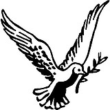 Flying Dove, with a twig, Vinyl cut decal