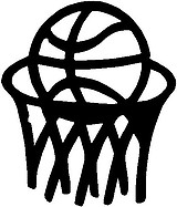 Basketball half way in hoop, Vinyl cut decal