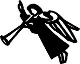Angel blowing a horn and pointing up, Vinyl cut decal