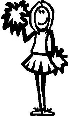 Girl, 5 inch Tall, Cheerleader, Stick people, vinyl decal sticker