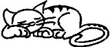 Cat, 1.7 inch Tall, stick people, vinyl decal sticker