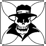 Gangster Skull, With hat on, Vinyl cut decal