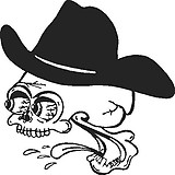Cowboy Skull, with cowboy hat, Vinyl cut decal