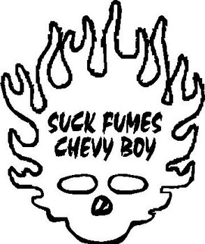 Flame Shull, Suck Fumes Chevy Boy, Vinyl cut decal
