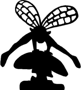A Fairy hopping over a mushroom, Vinyl cut decal