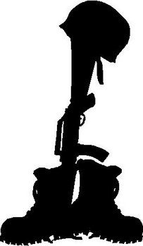 Soldiers Boots Helmet And Weapon Vinyl Cut Decal