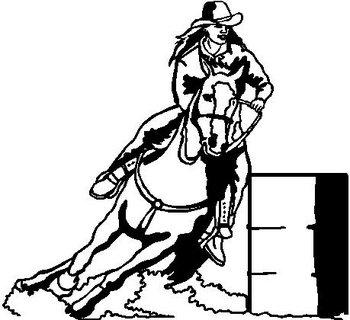 Coloring Pictures Of Horses Barrel Racing : Barrel Racing, Vinyl cut decal
