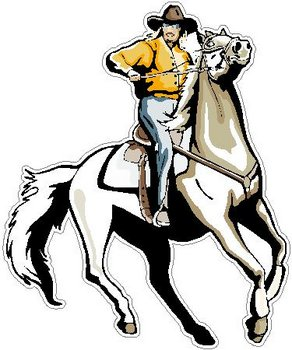 Cowgirl riding a horse, full color decal