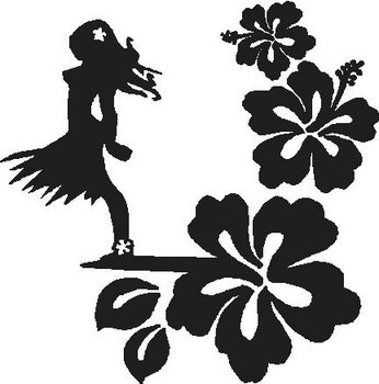 Hibiscus flowers with a Hawaiian girl, Vinyl cut decal