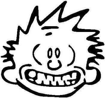 Calvin smiling, Vinyl decal sticker