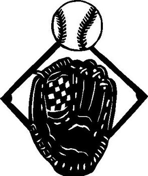 Baseball and glove, Vinyl decal sticker