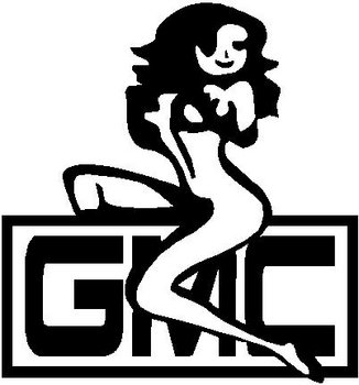 Girl Sitting on a GMC logo, vinyl decal sticker