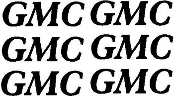 6 Small GMC logos, Vinyl cut decal