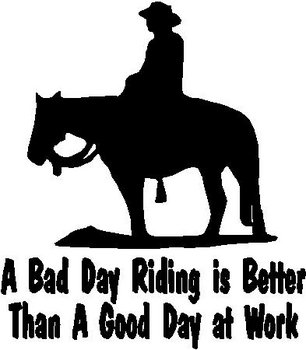 A bad day riding is better than a good day at work, cowboy and a horse, Vinyl cut decal