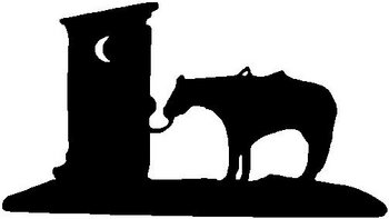 A horse tied up to a out house, Vinyl cut decal