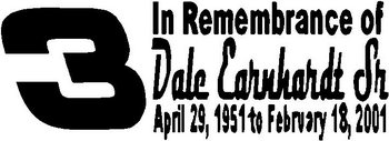 Dale Earnhardt Sr, In memory of, Vinyl cut decal
