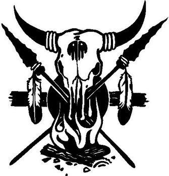 Bull Skull, Spears, Feathers and a camp Fire, Vinyl cut decal