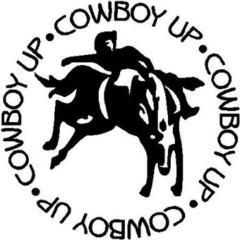 Cowboy up, with a bucking horse rider, Vinyl cut decal