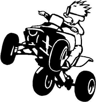 Calvin riding a Quad, Vinyl cut decal