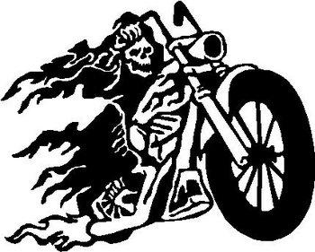 biker skull guy  riding a motorcycle  vinyl cut decal Happy Birthday From a Biker Happy Birthday Word Art