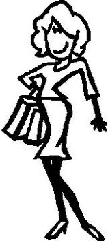 Girl Shopping, 5 inch Tall,  Stick people, vinyl decal sticker