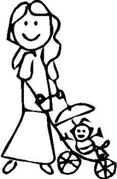 Girl, 4.9 inch Tall, Pushing baby Stroller, stick people, vinyl decal sticker