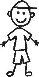 Boy, 3.4 inch Tall, stick people, vinyl decal sticker