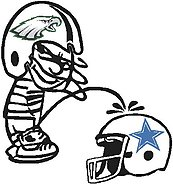 Eagles Calvin peeing on the Coboys, Part full color,Vinyl cut decal