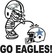 Go Eagles, Eagles Calvin peeing on the Coboys, Part full color,Vinyl cut decal