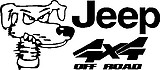 Jeep, 4x4 off road, with a dog head, Vinyl cut decal